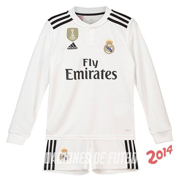 Camiseta Del Conjunto Completo Manga Larga Real Madrid Nino Primera Equipacion  2018 2019 14a71bcd91da5